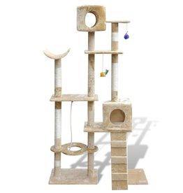 vidaXL Kattenkrabpaal Tommie 175 cm 2 huisjes (beige)