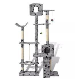 vidaXL Kattenkrabpaal Tommie 175 cm 2 huisjes (grijs) met pootafdrukken