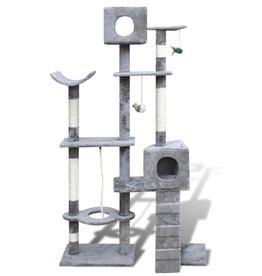 vidaXL Kattenkrabpaal met 2 huisjes Tommie 175 cm grijs
