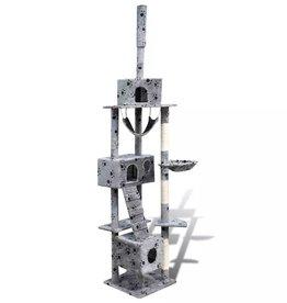vidaXL Kattenkrabpaal Tommie 220/240 cm 3 huisjes (grijs) met pootafdrukken