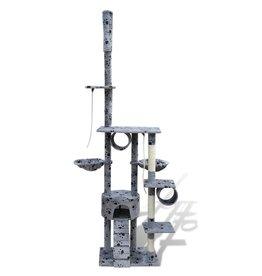 vidaXL Kattenkrabpaal Tommie 220/240 cm 1 huisje (grijs) met pootafdrukken