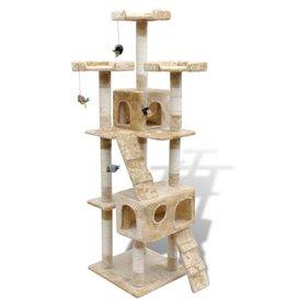 vidaXL Kattenkrabpaal met 2 huisjes Max 170 cm beige