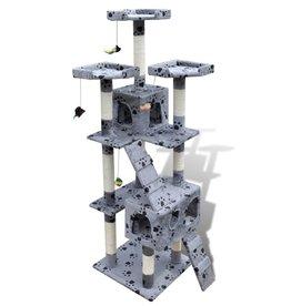 vidaXL Kattenkrabpaal Max 170 cm 2 huisjes (grijs) met pootafdrukken