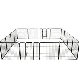 vidaXL Hondenren met 16 panelen 80x80 cm staal zwart