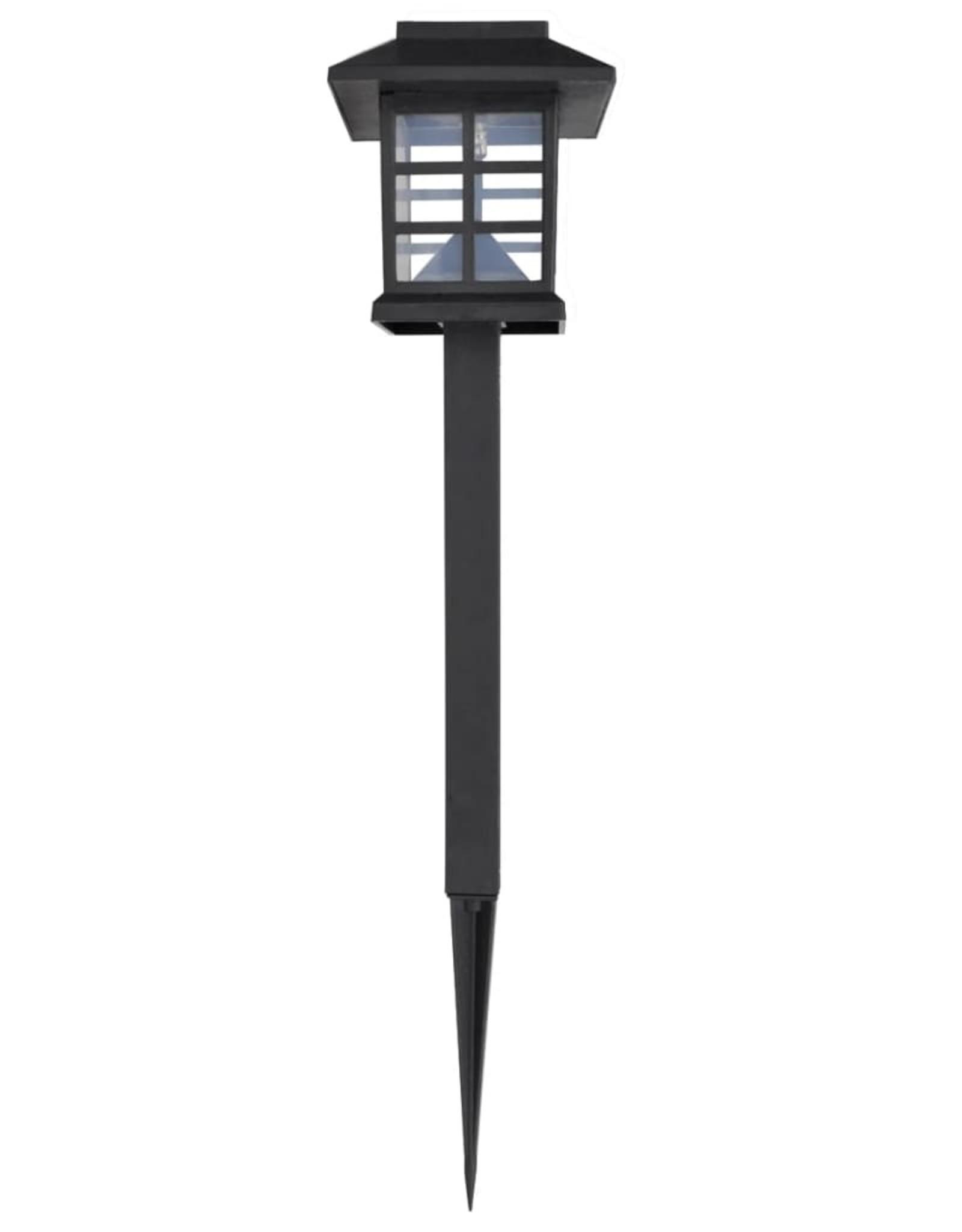 vidaXL 12-delige LED-tuinverlichtingsset solar met pin 8,6x8,6x38 cm