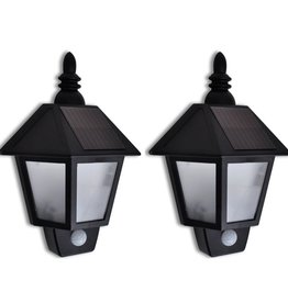 vidaXL Solar-wandlamp met bewegingsensor 2 st