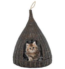 vidaXL Kattenhuis met kussen tipi 40x60 cm natuurlijk wilgen grijs