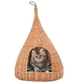 vidaXL Kattenhuis met kussen tipi 40x60 cm natuurlijk wilgen