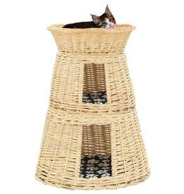vidaXL 3-delige Kattenmandset met kussens 47x34x60cm natuurlijk wilgen