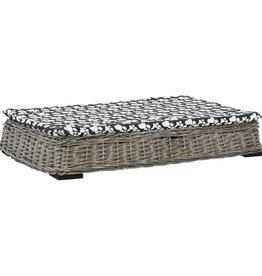 vidaXL Hondenbed met kussen plat ontwerp 95x65x15 cm wilgen grijs