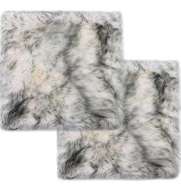 vidaXL Stoelkussens 2 st 40x40 cm schapenvacht gemêleerd donkergrijs
