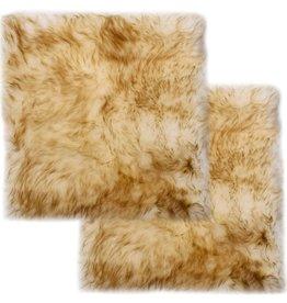 vidaXL Stoelkussens 2 st 40x40 cm echt schapenvacht gemêleerd bruin