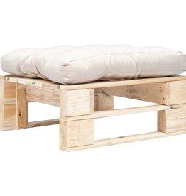 vidaXL Tuinpoef met zandkleurig kussen pallet hout naturel