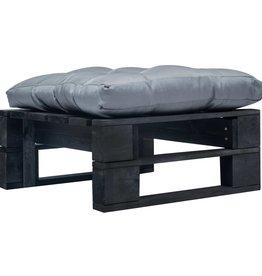 vidaXL Tuinpoef met grijs kussen pallet hout zwart