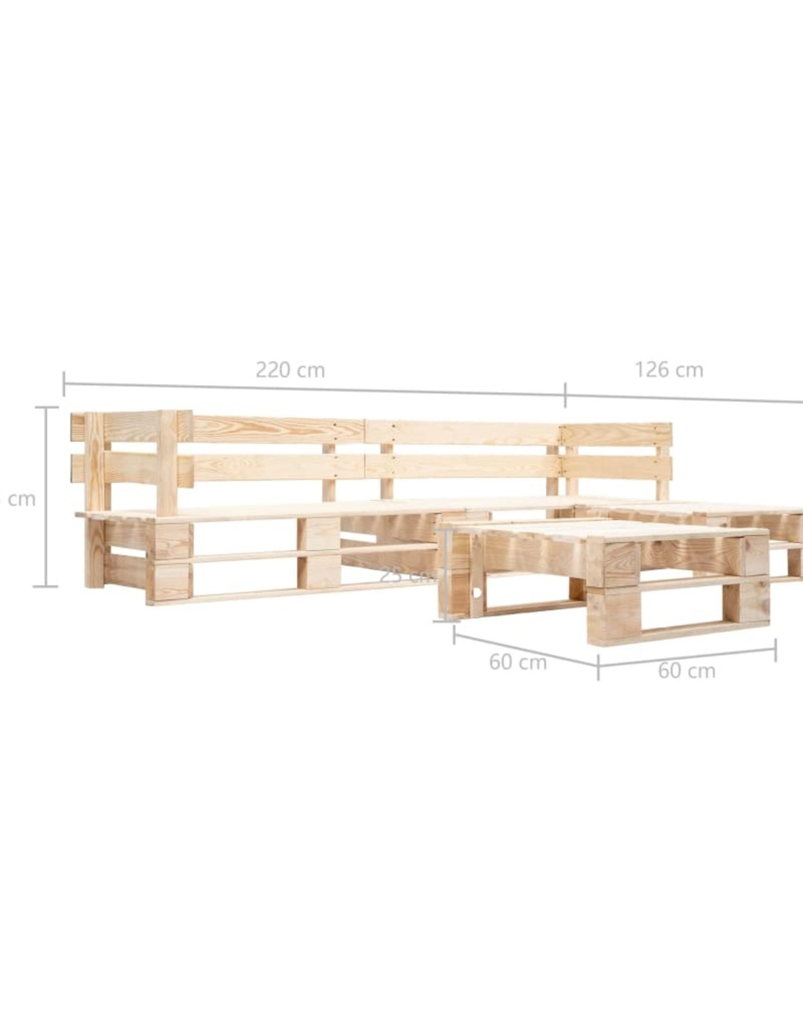 vidaXL 4-delige Loungeset pallet hout naturel
