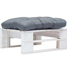 vidaXL Tuinpoef met grijs kussen pallet hout wit