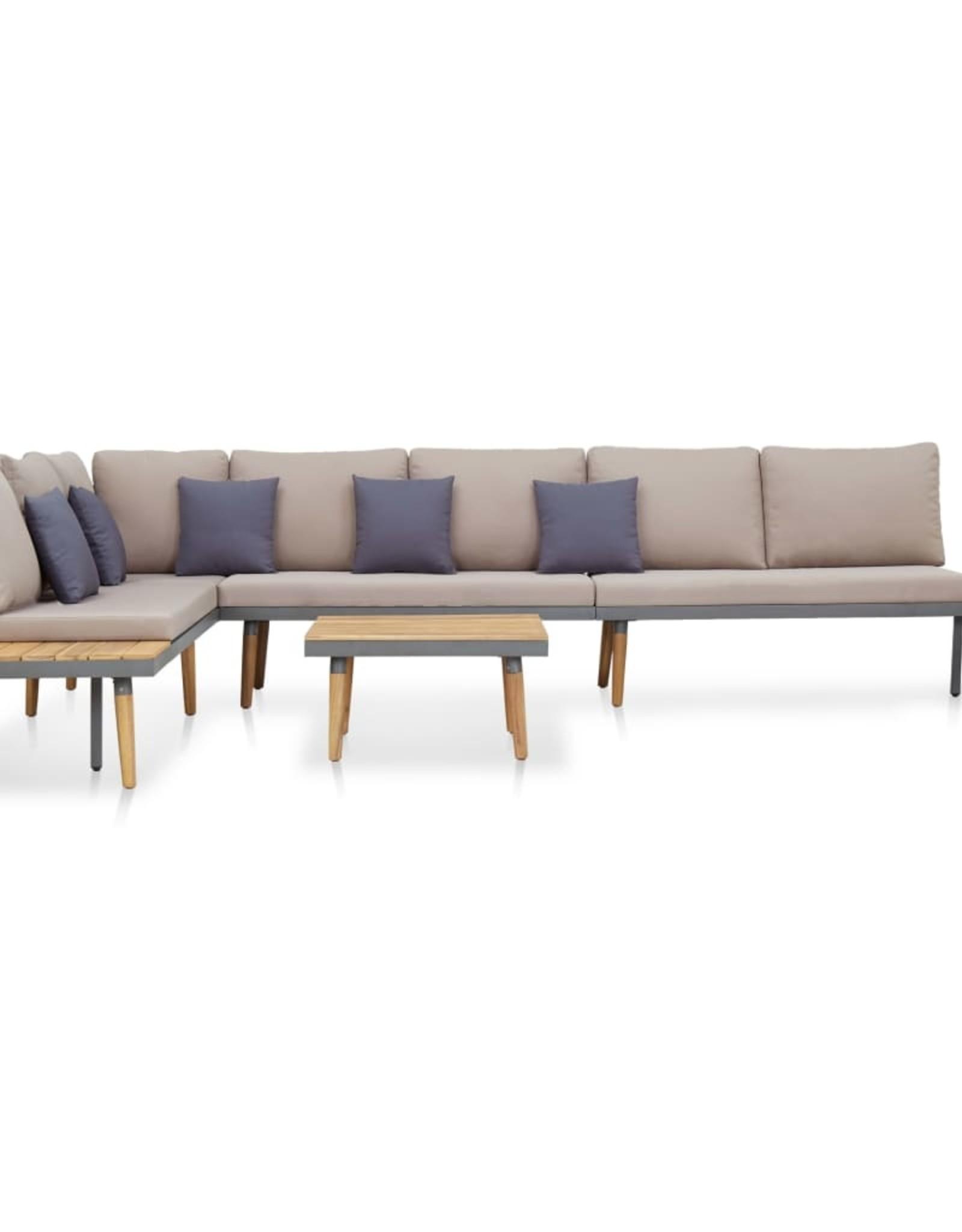 vidaXL 5-delige Loungeset met kussens massief acaciahout bruin