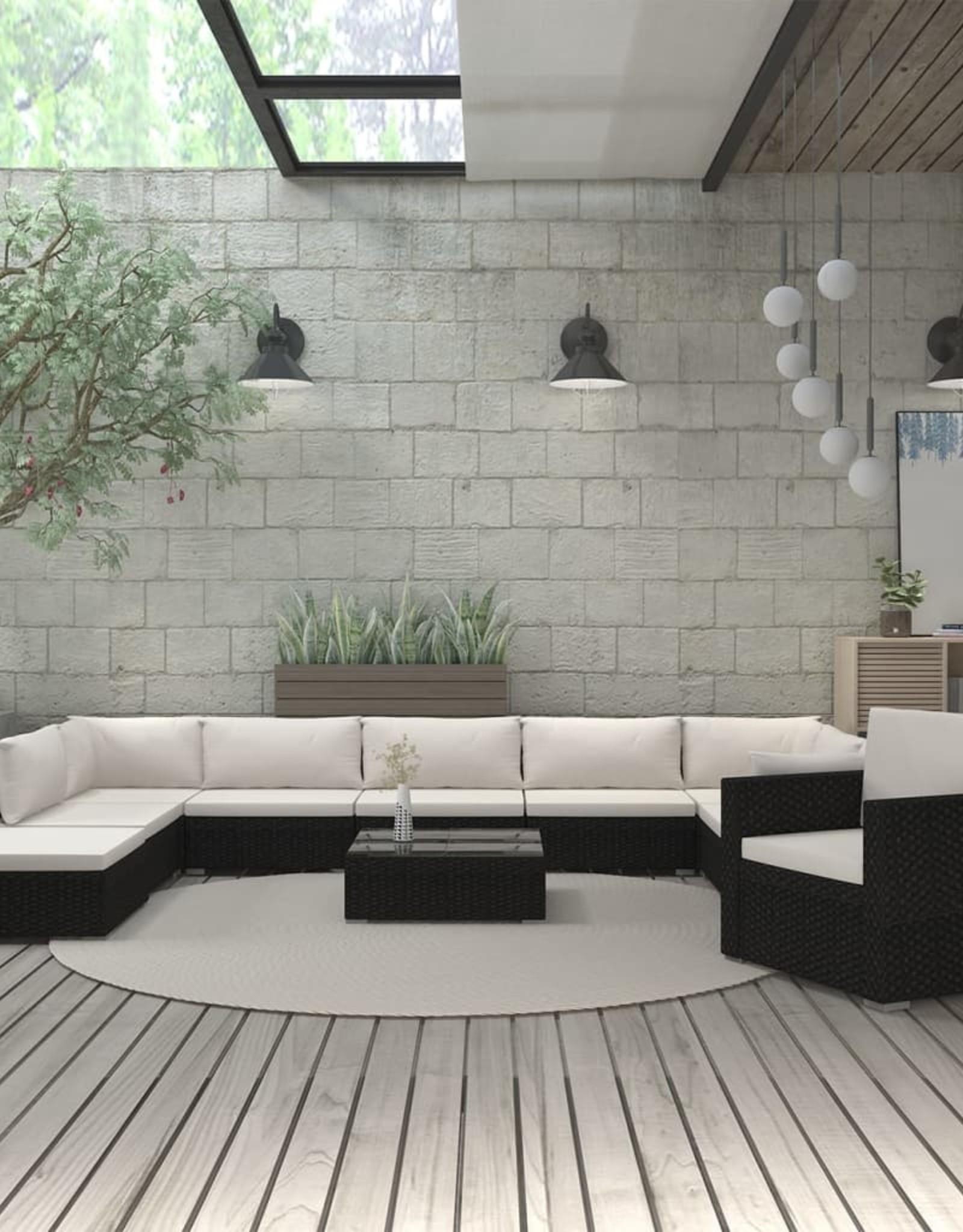 vidaXL 11-delige Loungeset met kussens poly rattan zwart
