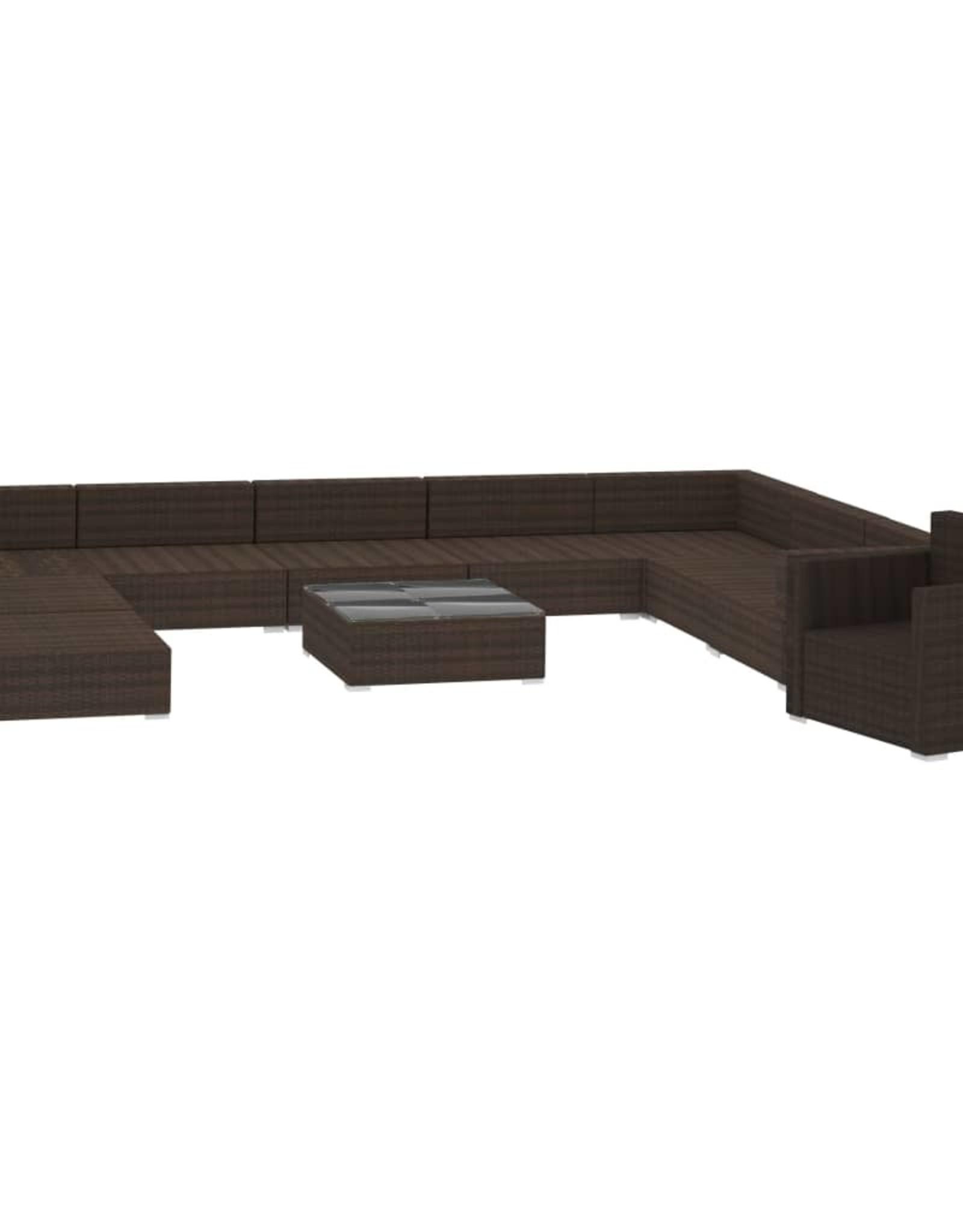 vidaXL 11-delige Loungeset met kussens poly rattan bruin
