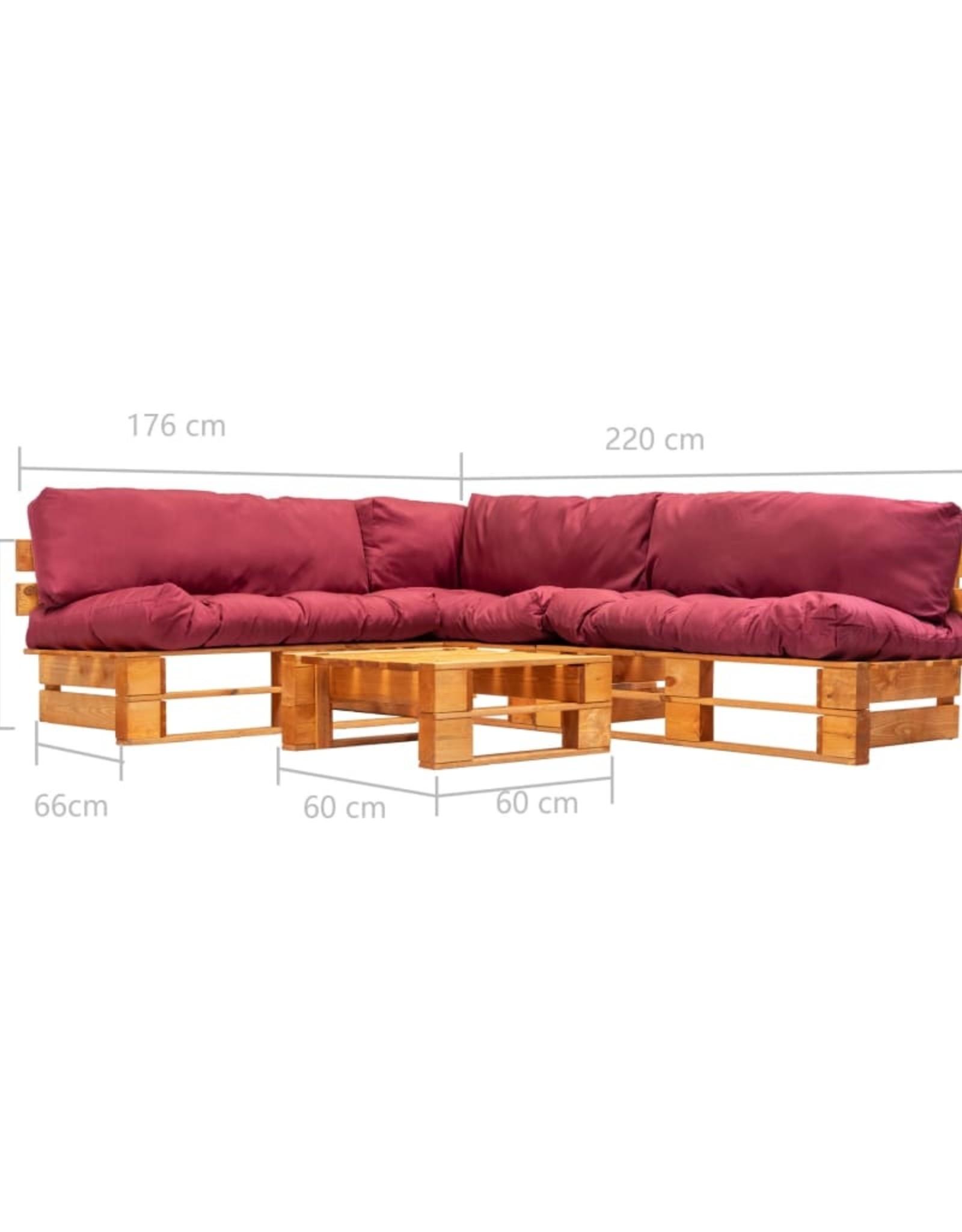 vidaXL 4-delige Loungeset pallets met rode kussens hout