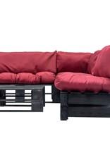 vidaXL 4-delige Loungeset pallet met rode kussens hout
