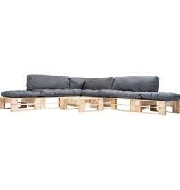 vidaXL 6-delige Loungeset pallet met grijze kussens hout