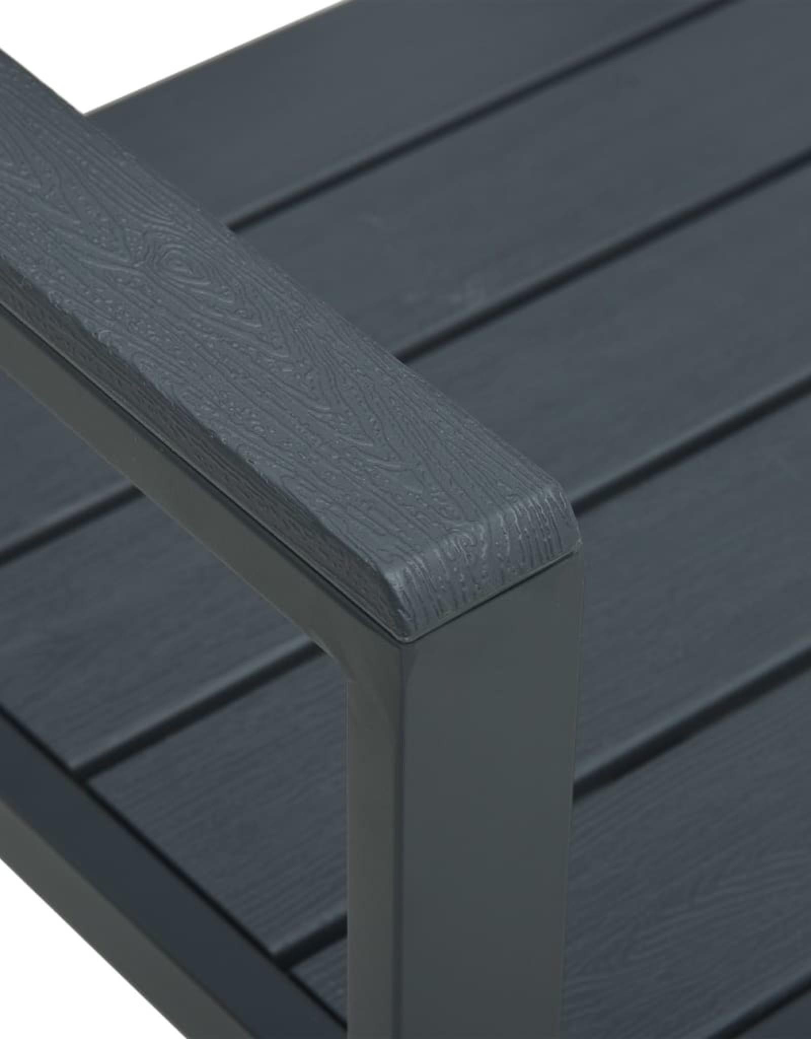 vidaXL 3-delige Bistroset hout-look HDPE grijs