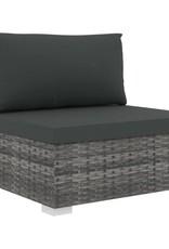 vidaXL 11-delige Loungeset met kussens poly rattan grijs