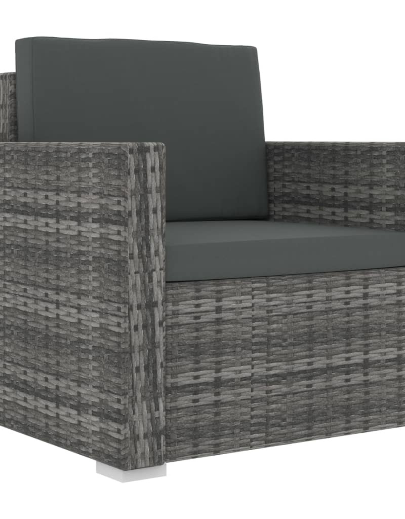 vidaXL 13-delige Loungeset met kussens poly rattan grijs