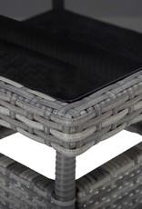 vidaXL 5-delige Tuinset poly rattan en glas grijs