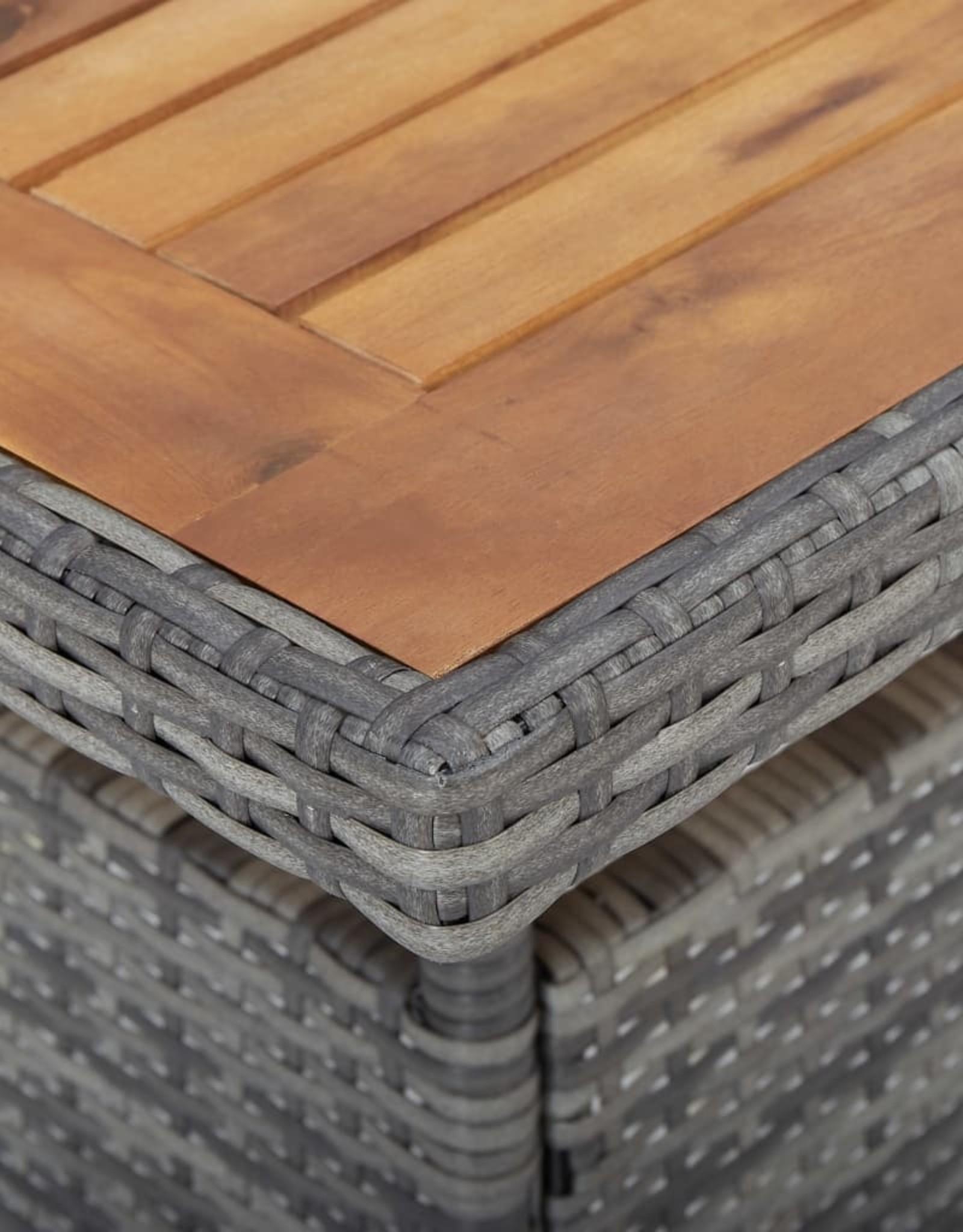 vidaXL 5-delige Tuinset poly rattan en acaciahout grijs