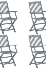 vidaXL 5-delige Tuinset massief acaciahout grijs