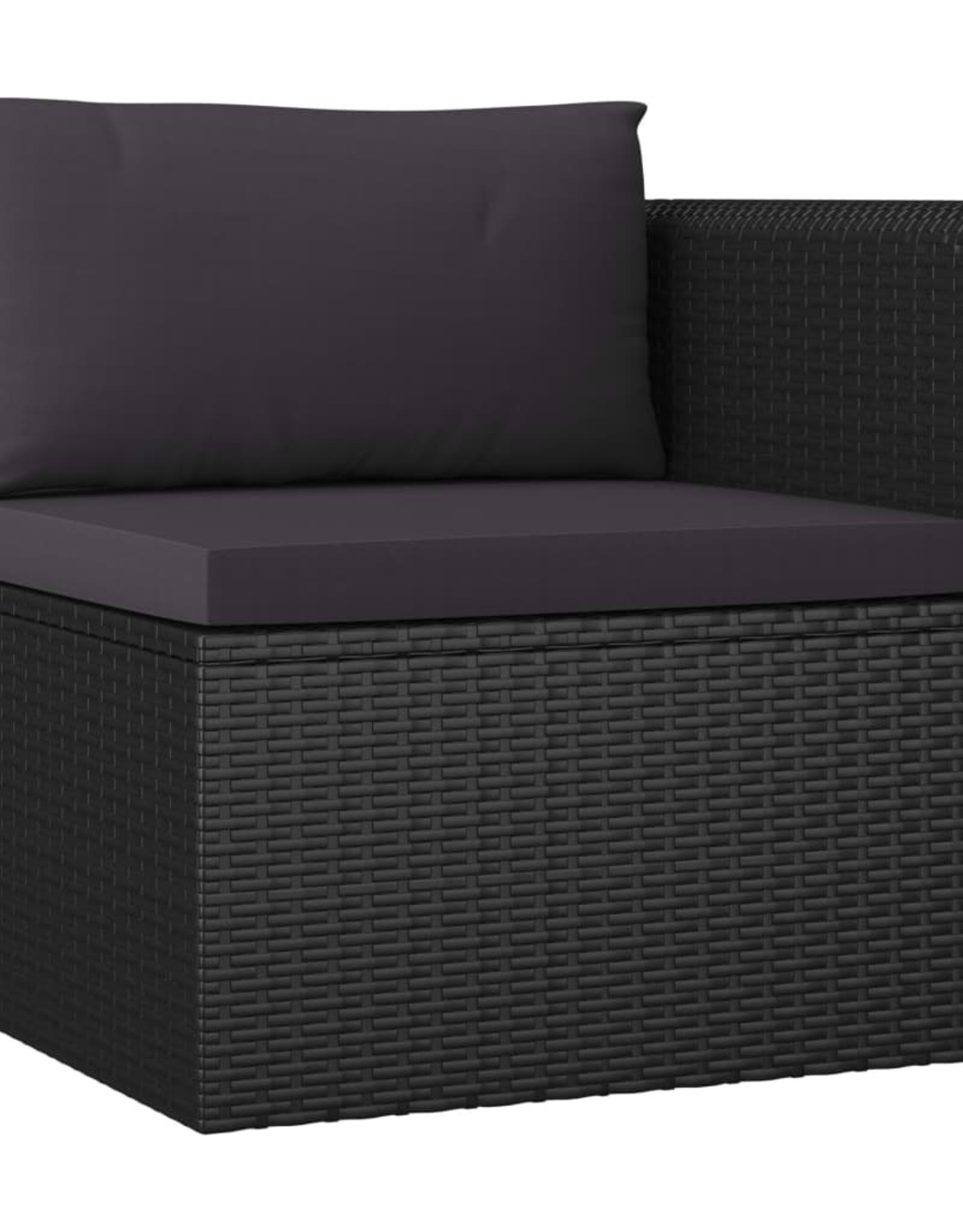 vidaXL 7-delige Loungeset met kussens poly rattan zwart