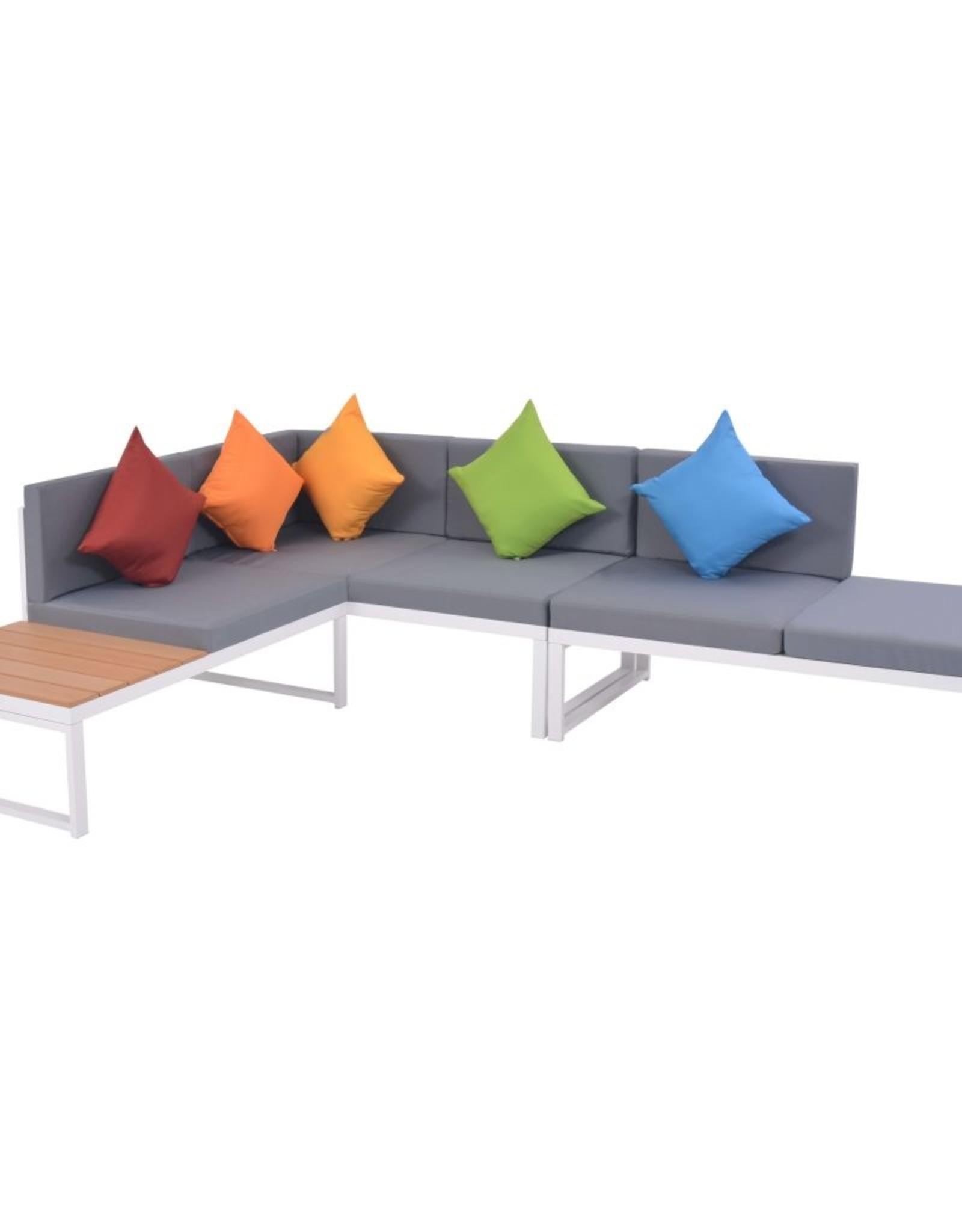 vidaXL 5-delige Loungeset met kussens aluminium en HKC