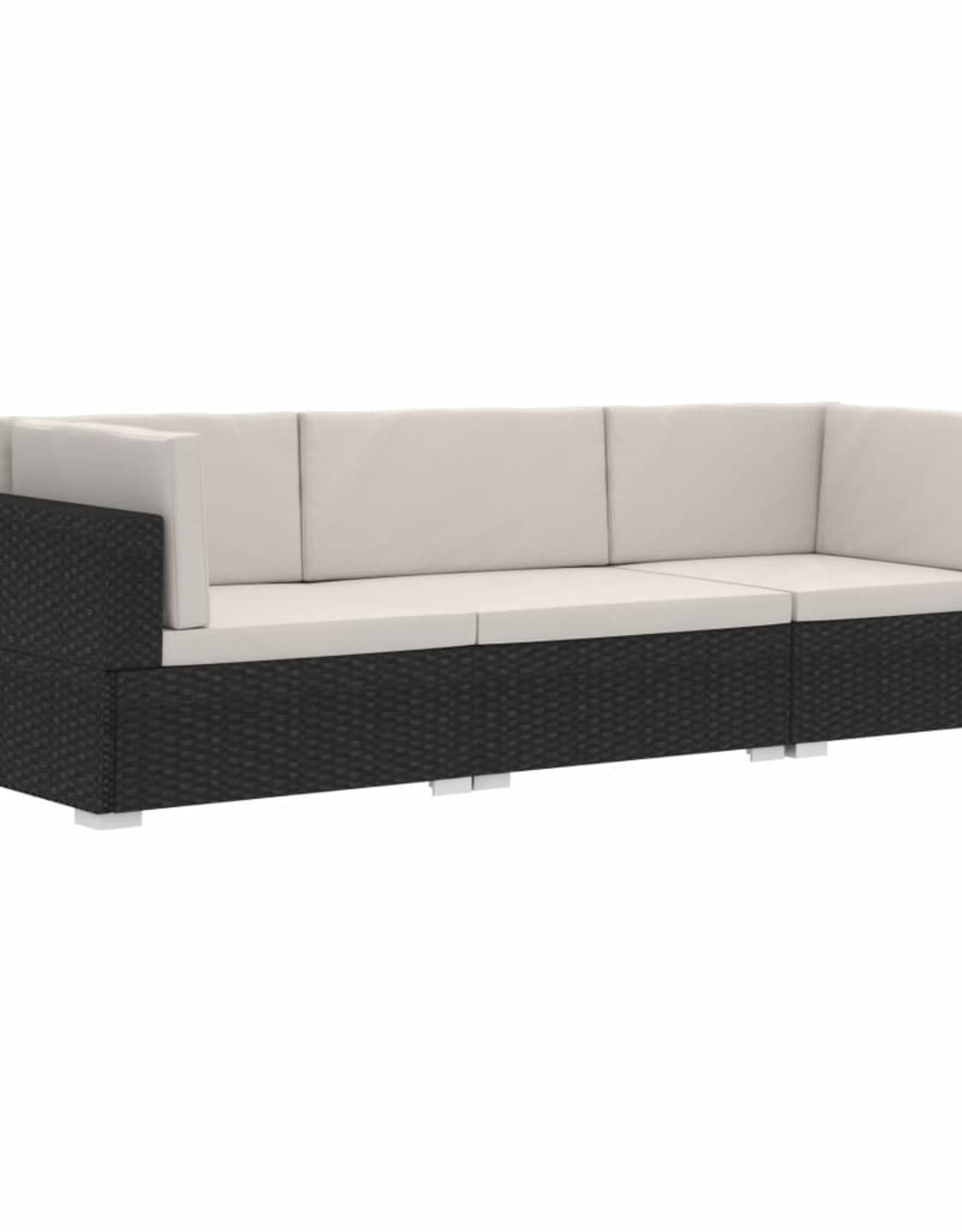 vidaXL 3-delige Loungeset met kussens poly rattan zwart