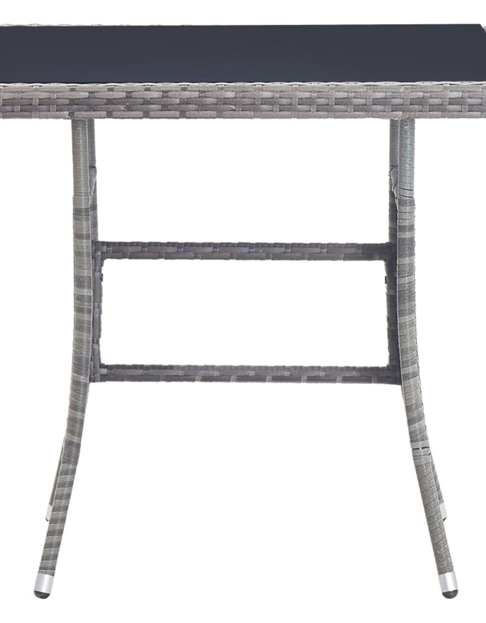 vidaXL 5-delige Tuinset met kussens poly rattan grijs