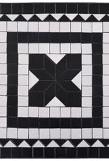 vidaXL 3-delige Bistroset mozaïek keramische tegel zwart en wit