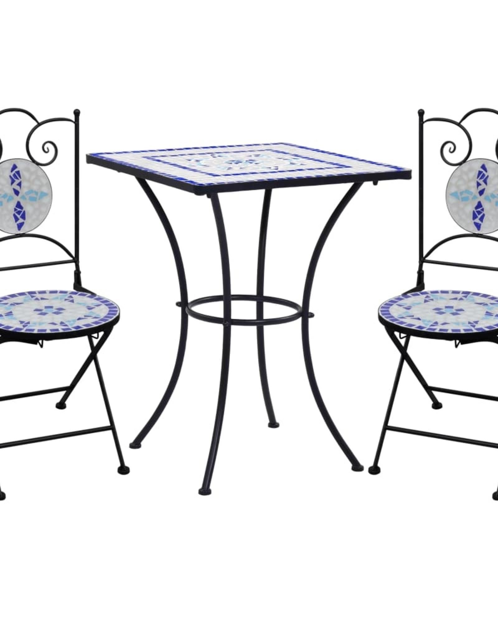 vidaXL 3-delige Bistroset mozaïek keramische tegel blauw en wit