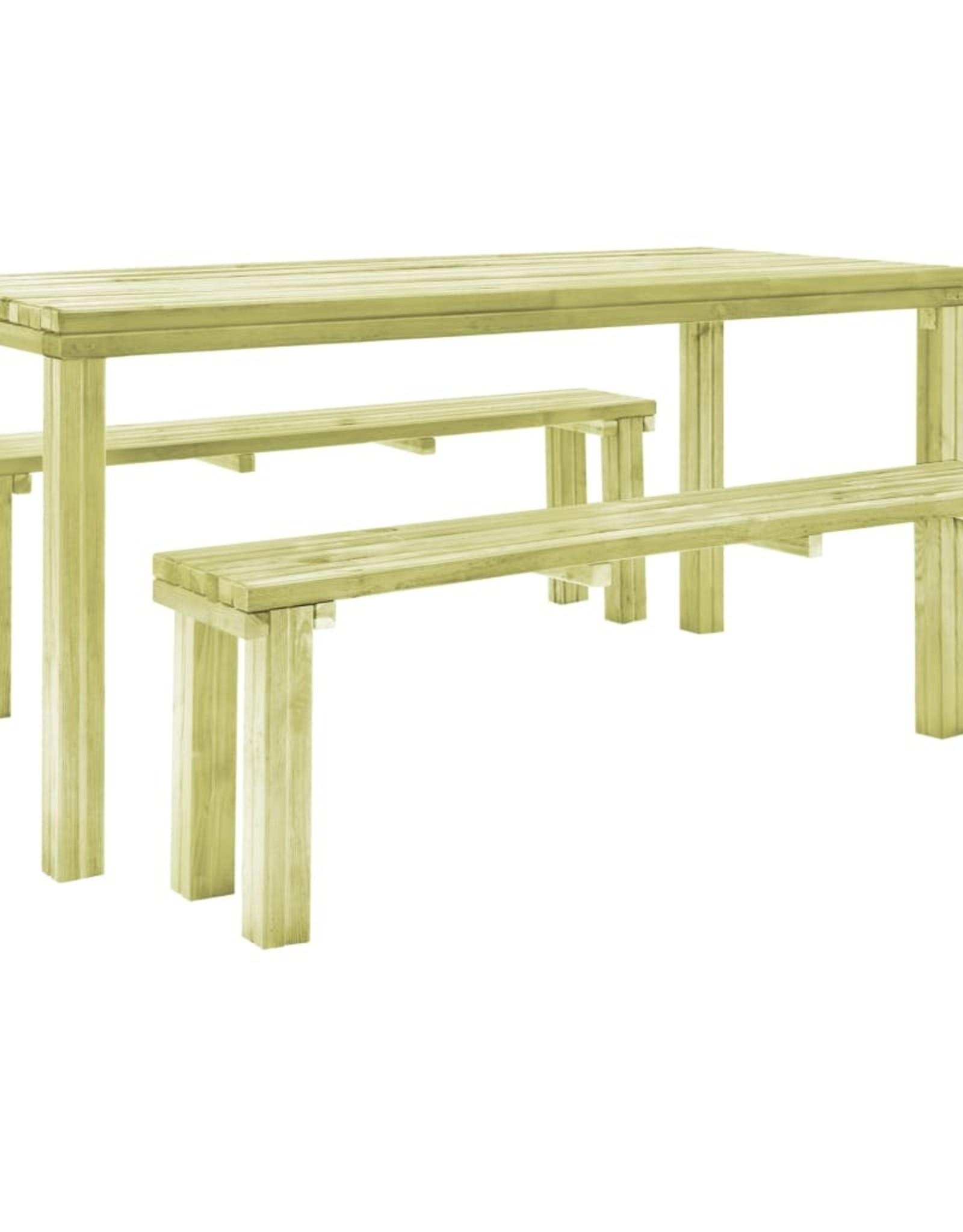 vidaXL 3-delige Tuinset geïmpregneerd grenenhout