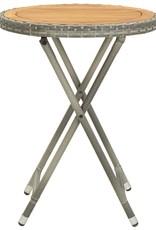vidaXL 3-delige Bistroset poly rattan en massief accaciahout grijs