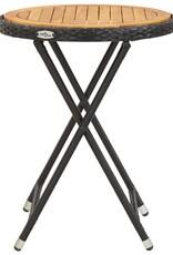 vidaXL 3-delige Bistroset poly rattan en massief accaciahout zwart