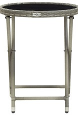 vidaXL 3-delige Bistroset poly rattan en gehard glas grijs