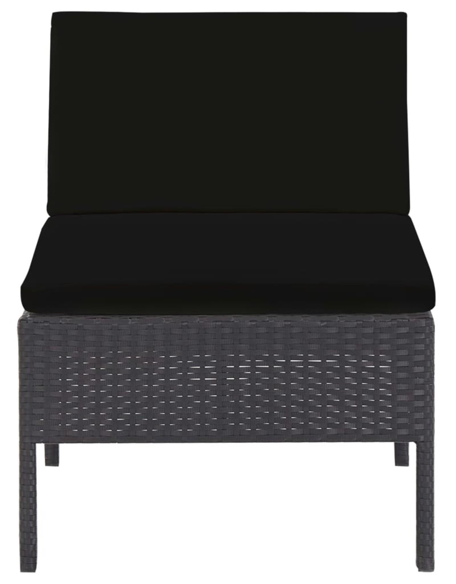 vidaXL 5-delige Loungeset met kussens poly rattan zwart