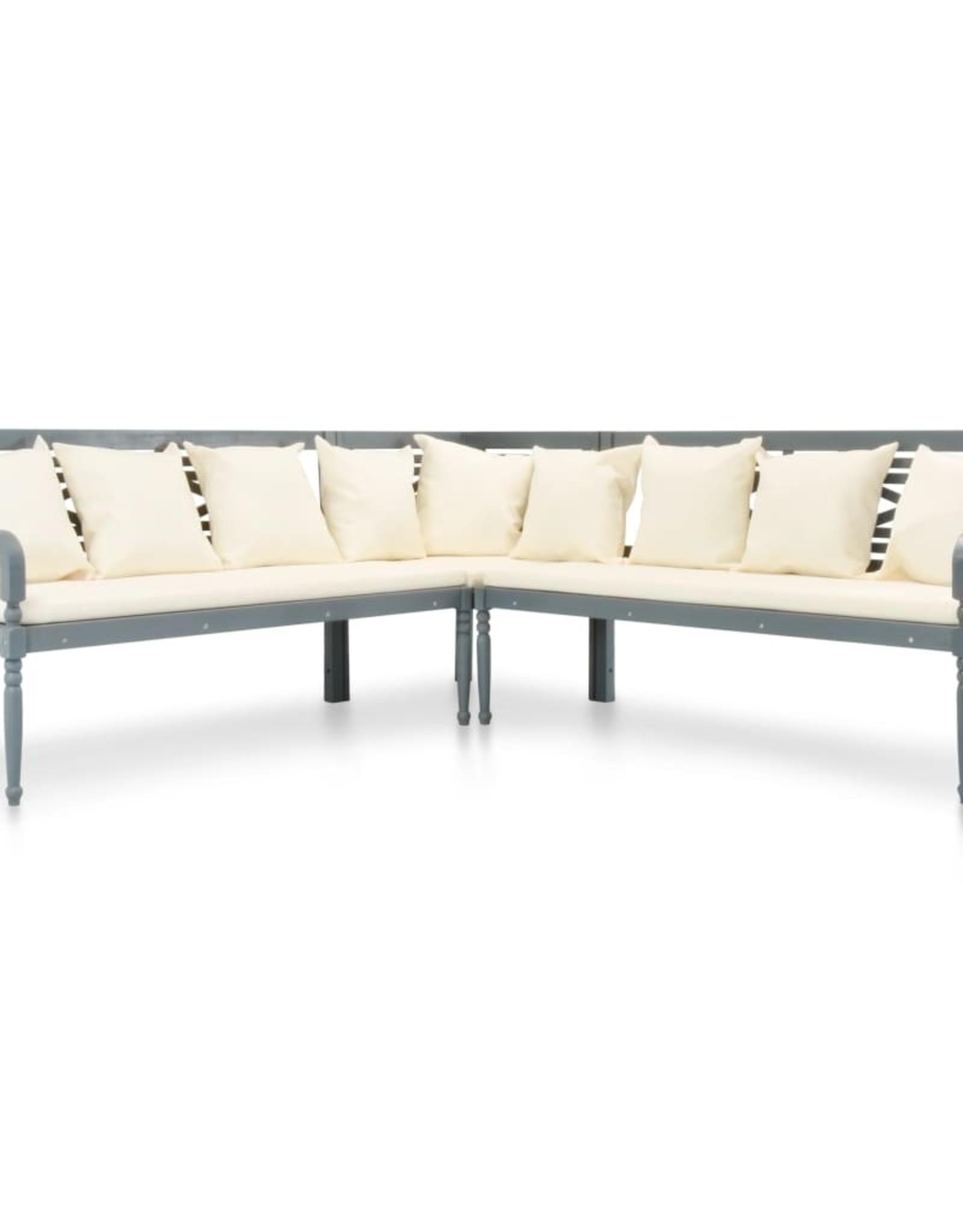vidaXL 3-delige Loungeset met kussens massief acaciahout grijs