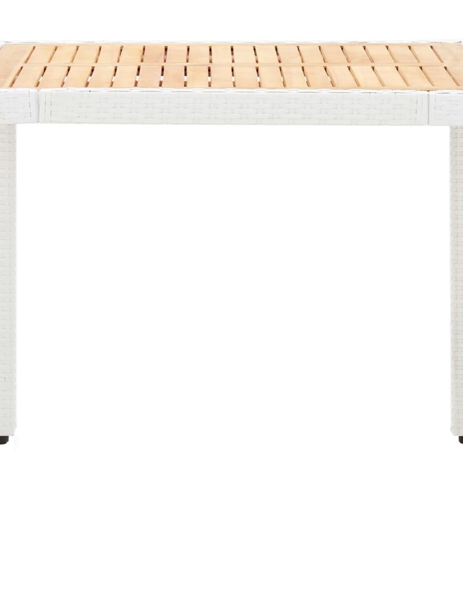 vidaXL 5-delige Tuinset poly rattan wit