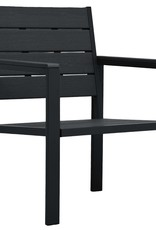 vidaXL 4-delige Loungeset hout-look HDPE zwart