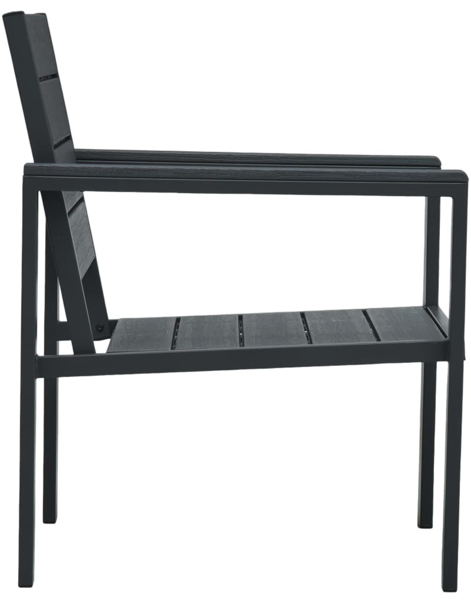 vidaXL 4-delige Loungeset hout-look HDPE grijs