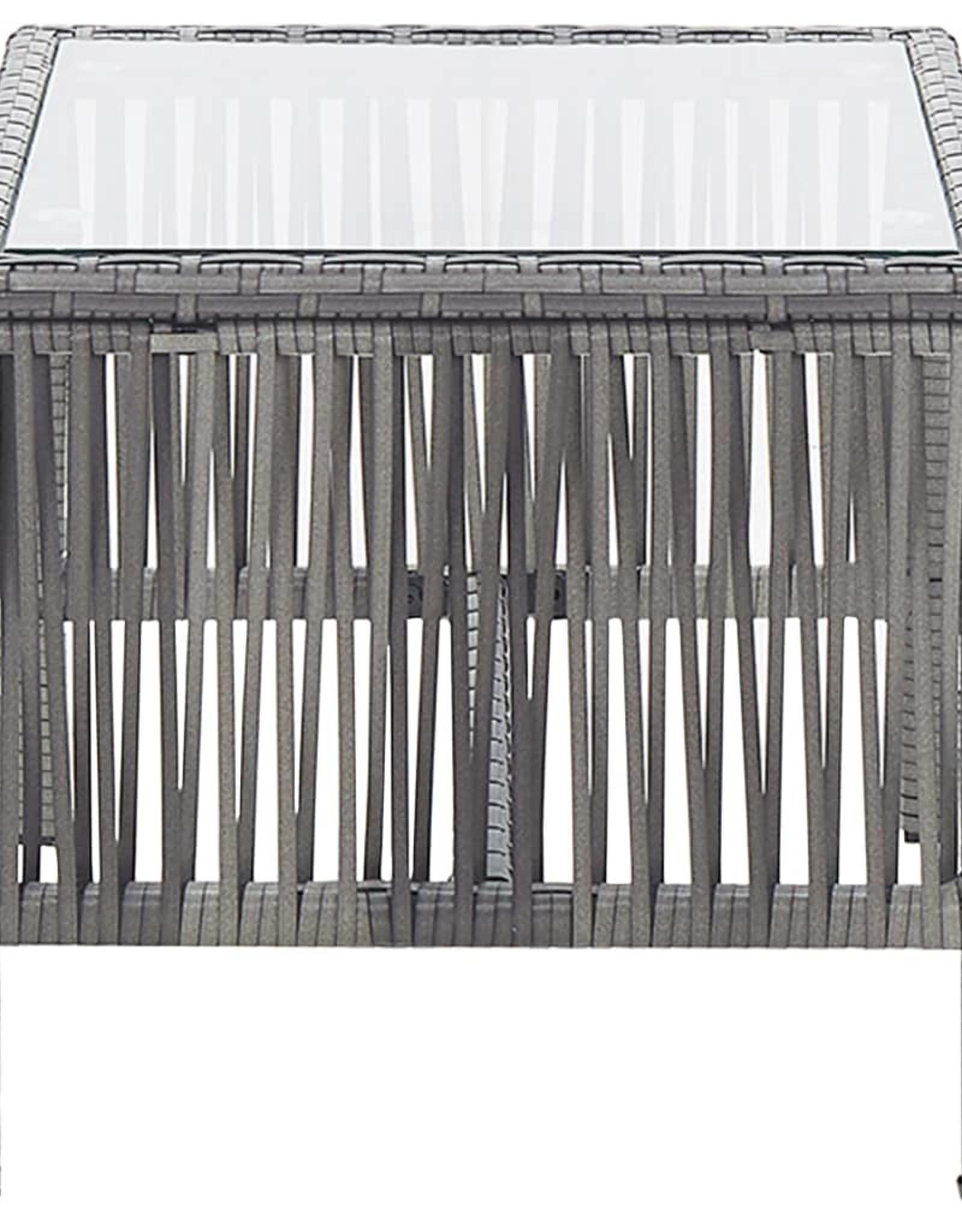 vidaXL 4-delige Loungeset met kussen poly rattan antraciet