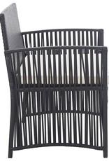 vidaXL 4-delige Loungeset met kussen poly rattan zwart