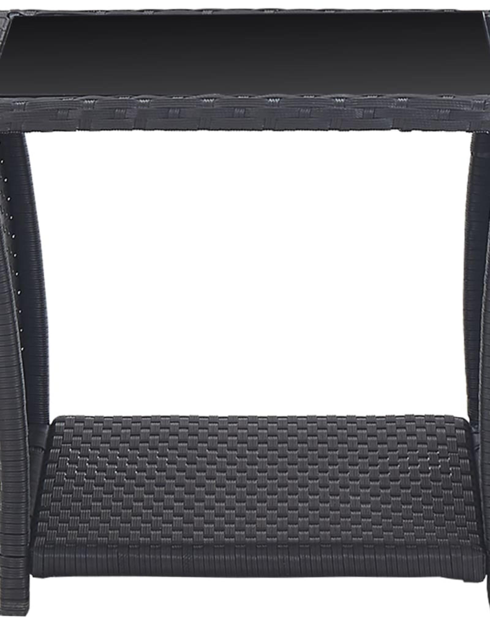 vidaXL 3-delige Bistroset met kussens poly rattan zwart